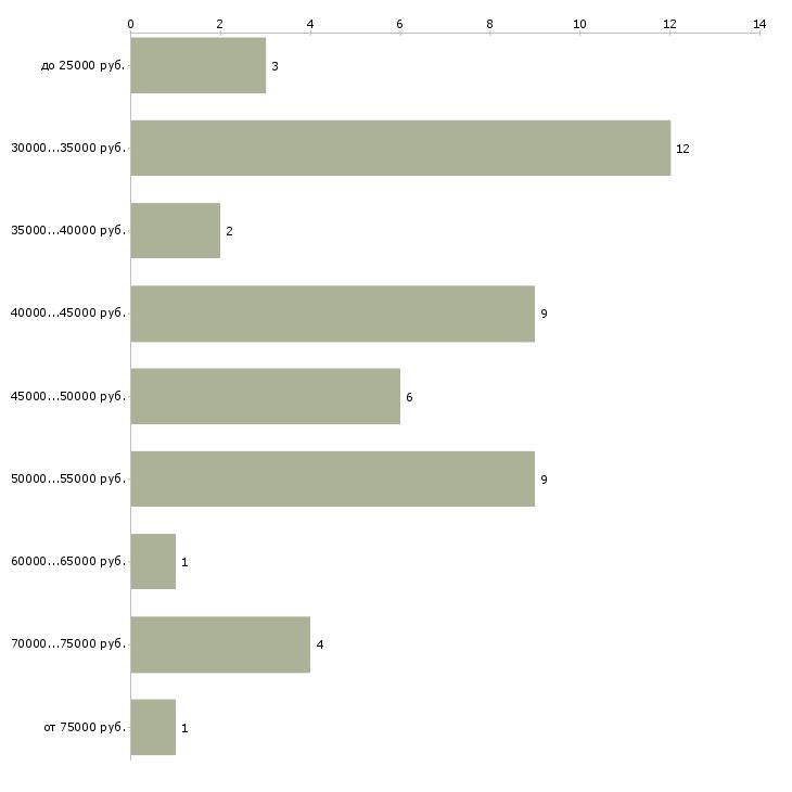 Найти работу дизайнер одежды  - График распределения вакансий «дизайнер одежды» по зарплате